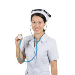 Asian nurse isolated