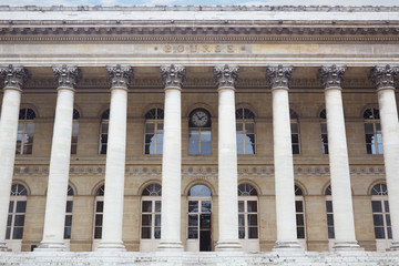 Stock exchange building in Paris, France