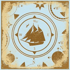 ship retro shabby paper compasses stylized silhouette