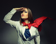 Superwoman. Young pretty woman wearing like a superhero. Super g