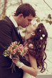 young wedding couple, beautiful bride with groom, autumn nature