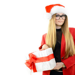 Portrait of attractive cheerful fashion christmas girl in Santa'