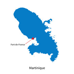 Vector map of Martinique and capital city Fort-de-France