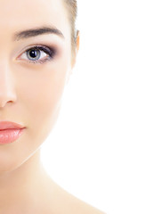 beautiful woman's face with accent on eyes, eye scanning technol