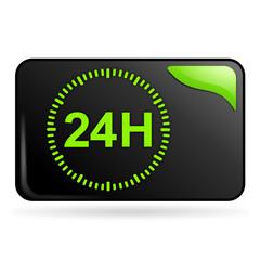 24 heures sur bouton web rectangle vert