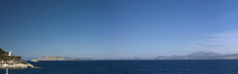 Panorama view from Hydra Island marina