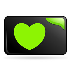 coup de cœur sur bouton web rectangle vert
