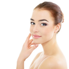 Pretty girl portrait, young beautiful woman with clean skin, hea