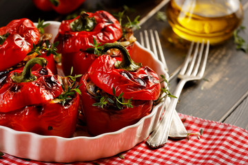 Roasted bell peppers stuffed with rice and mushrooms