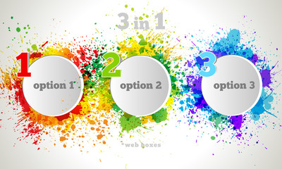 Vector Graphic Design Button and Labels Template. Color paint sp