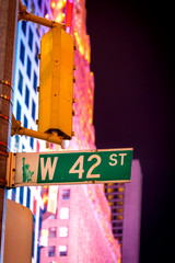 West 42nd Street sign at Times Square in New York City, USA.