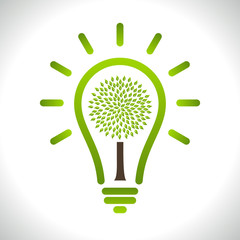 Modern infographic template. Light bulb with Green tree icon ins