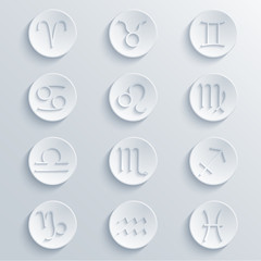 vector modern signs of the zodiac. Circle icons
