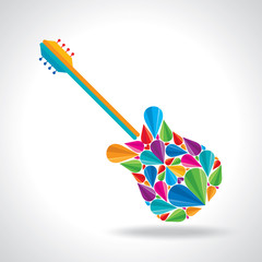 illustration of guitar shape with colorful abstract