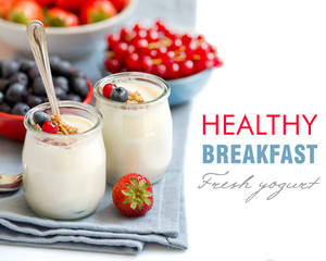 Healthy breakfast with Fresh yogurt, muesli and berries