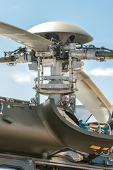 closeup of helicopter rotor parts