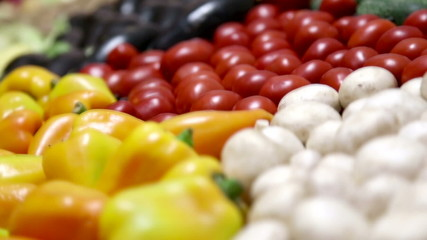Montage collection video variety of fresh vegetables.