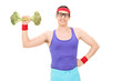 Nerdy man lifting a broccoli dumbbell