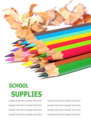 school supplies color pencils shavings isolated on white backgro