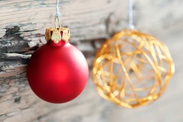 Christmas Balls on Wood as Christmas Background