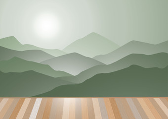 Morning mountains and sunrise with wooden floor vector backgroun