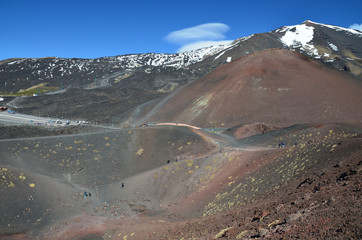 Lateral craters of the volcano Etna