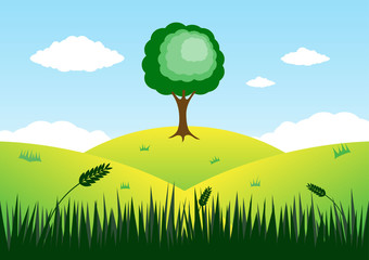 Tree on top of mountain vector background.