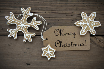 Ginger Bread Stars with Merry Christmas Label