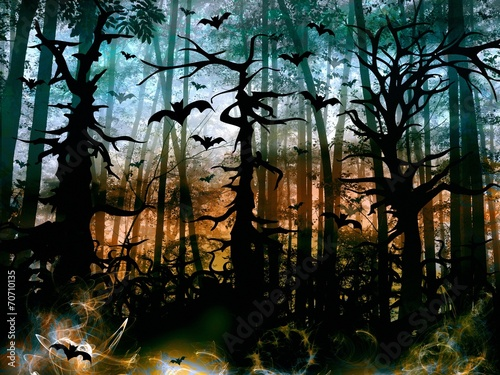 Halloween horror forest with bats - dark scenery
