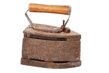Old iron isolated on white background.