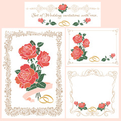 Wedding invitation, floral border.