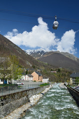 Spring view of the Cauterets spa town