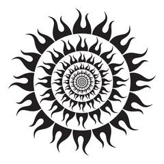 Black Sun on white background