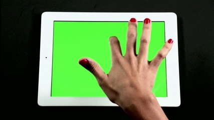 Tablet Computer Touch Screen Finger Gestures on Green