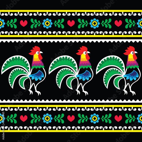 Polish folk art pattern with roosters on black - Wzory lowickie © redkoala