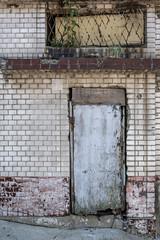 grunge brick wall with old door