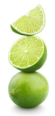 Pyramid of lime citrus fruit isolated on white