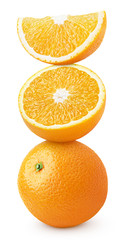 Pyramid of orange citrus fruit isolated on white