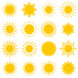 Sun icon set on white background