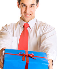 Happy businessman with gift, isolated