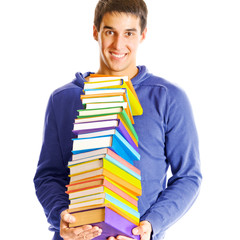Isolated young happy smiling man with textbooks