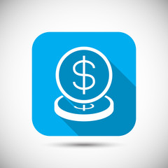 Money coin flat long shadow icon
