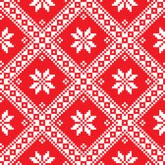 Seamless Ukrainian Slavic folk art red embroidery pattern