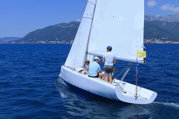 Outdoor activities. The sailing yacht