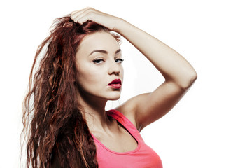 young beautiful woman model with red curly hair