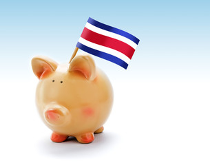 Piggy bank with national flag of Costa Rica