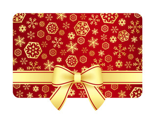 Luxury Christmas gift card with golden snowflakes and ribbon