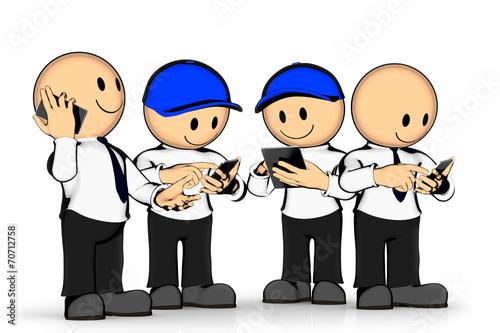 Leinwanddruck Bild Gruppe mit Handys