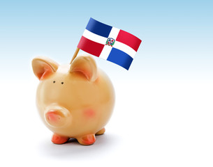 Piggy bank with national flag of Dominican Republic