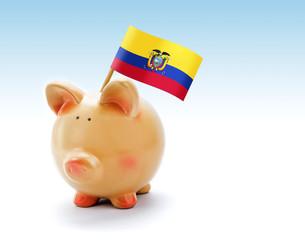 Piggy bank with national flag of Ecuador